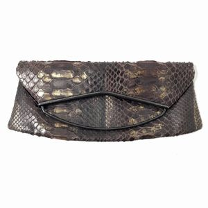 RODO Flap Clutch Bag Brown Metallic Python